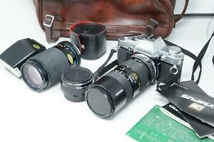 Olympus OM30 classic 35mm SLR camera w Tamron 75-150mm and Zeiss 75-210mm lenses