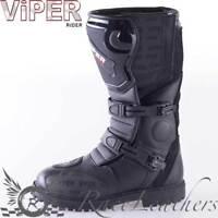 VIPER RIDER 1056 ADVENTURE STYLED WATERPROOF BLACK MOTORCYCLE MOTORBIKE BOOTS