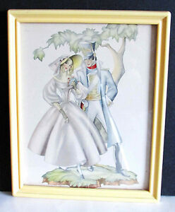"""Antique Old Fashioned Soldier Couple Print in Bakelite Frame 10.75x8.75"""" FREE SH"""