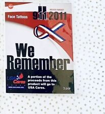 We Remember 9/11 2011 Temporary Face Tattoos 3 Pc Pack Simplicity Creative Group