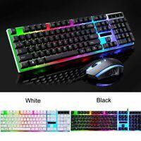 USB Gaming Ergonomic LED Backlit Keyboard & Mouse For PC Laptop Windows PS4 Xbox