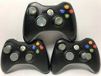 Official Xbox 360 Wireless Controller Lot of 3 Black AS IS for Parts or Repair