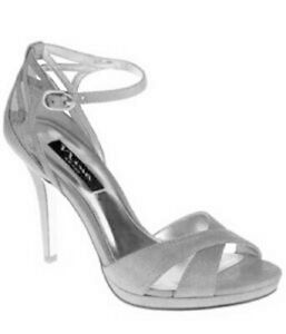 Women's Shoes Nina RUTA Platform Dress Sandals Heels Satin Silver Starfish
