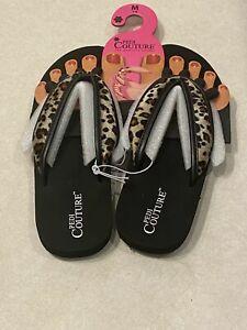 Pedi Couture Pedicure Sandal Flip Flop Black Leopard Cheetah Women's Med 7-8 NEW