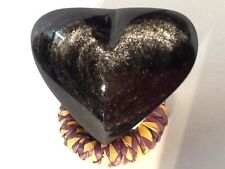 """OBSIDIAN SILVER SHEEN  HEART 3 3/4  """", HAND CRAFTED"""