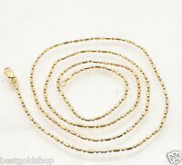 1.5mm Diamond Cut Elongated Bead Ball Chain Necklace Real Solid 14K Yellow Gold
