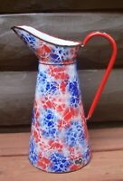 Antique Red Blue & White End of Day French Enamelware Graniteware Body Pitcher
