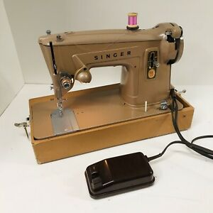 Vintage Singer Sewing Machine 329K with Wooden Case and Foot Pedal