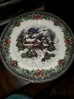 NEW (4) Royal Stafford Christmas Winter Home Village Holiday Dinner Plates