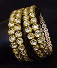 Women Traditional Wedding Stone Kundan Bangle Set Indian Ethnic Jewelry 2*8