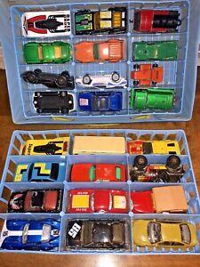 Lot of 24 Vintage Diecast Matchbox Cars 1970s 1980s 1990's Trains + 24 Car Case
