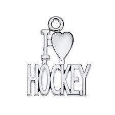 20pcs Sports Athletics I Love Hockey Heart Shape Pendant for DIY Jewelry Making