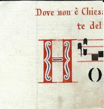 Manoscritto antico CAPOLETTERA H rosso blu ANTIFONARIO MUSICA 1850 ca. Drop Cap