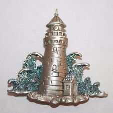 Brooch Pin - Signed JJ - Lighthouse - Waves - Blue Glitter - Silver Pewter Tone