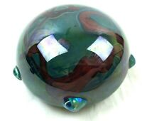Vtg Hand Blown Aurene Iridescent Glass Paperweight Red Green Blue Signed Arnold