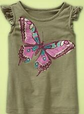 NWT Baby GAP Butterfly Canyon Foil Glitter Olive Flutter Tee Top 12 18 NEW