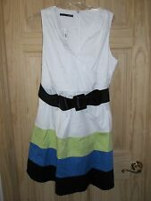 NEW Beautiful Maurices White/Green/Blue/Black Pleated Sun Dress 13/14 with Belt!