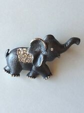 New Elephant Brooch Silver Plated Animal Grey Enamel Crystal Pin Free Shipping
