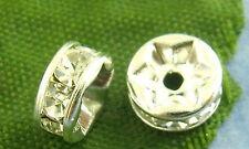 25 Stück Glas Kristall facettierte Rondelle Beads klar Perlen 6 mm Zwischenperle