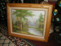 Original Oil Painting On Canvas Signed Dixon-Trees Water Forest-Oak Frame