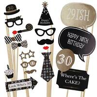 20x Party Photo Booth Props Moustache 30/40/50th Birthday Wedding Selfie Frame