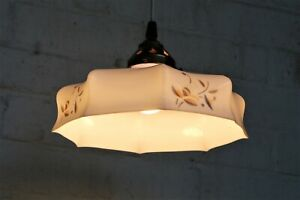 An Antique French Opaline Decorated Glass Lampshade Ceiling Light & Gallery