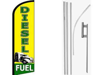 Diesel Fuel Yellow / Green Windless Banner Flag & 16ft Flagpole Kit /Ground