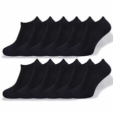 Ladies 12 Pairs Trainer Liner Socks Black Liners Socks Cotton Rich Size UK 4-8