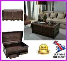 Unique Coffee Table Trunk Storage Drawer Vintage Wooden Treasure Chest Furniture