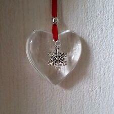 Handmade Hanging glass heart decoration Christmas Gift with Snowflake charm