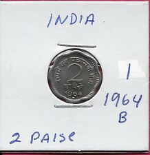 INDIA 2 PAISE 1964B UNC ASOKA LION PEDESTAL,SCALLOPED COIN,DENOMINATION AND DATE