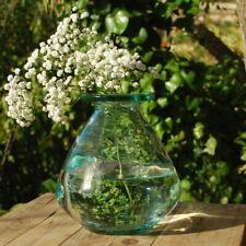 Chunky Round Peonza Green Glass Vase, Botanical Stem Vase Flowers Table Decor