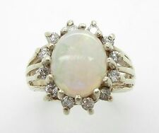 Large Opal And Diamond Ring~Halo Style~10K Yellow Gold~1/2CTW Diamonds!~Natural!