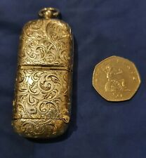Antique SILVER Vesta SOVEREIGN Coin Box Case 1911 Brimingham Engraved
