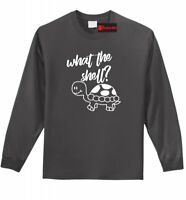 What The Shell Funny Long Sleeve T Shirt Turtle Lover Cute Turtle Graphic Tee Z1