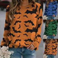 Womens Halloween Bat Print Long Sleeve Sweatshirt Casual Blouse Pullover Jumper