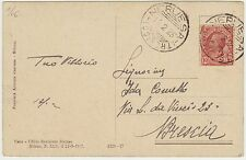 1923 BEL TIMBRO NERVESA (TREVISO) SU CARTOLINA ILLUSTRATA X BRESCIA