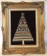 Vintage Costume Jewelry Rhinestone Framed Christmas Tree Collage on Velvet