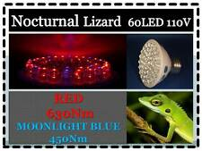 Nocturnal Lizard Reptile 60LED Moonlight Blue Red Light Bulb 110V E27 USA Cert.