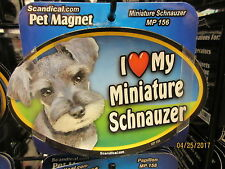 I Love My Miniature Schnauzer 6 inch oval magnet for car or anything metal New