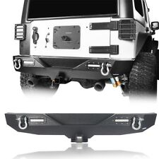 Textured Rear Bumper w/ D-Rings & Led Lights for 2007-2018 Jeep Wrangler JK