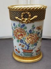 OLD FRENCH CHANTILLY SMALL BRONZE MOUNTED HAND PAINTED PORCELAIN TALL  VASE