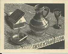 ORIGINAL PRINT MC ESCHER B321 Bookplate Dr P.H.M. Travaglino Wood Engraving 1940
