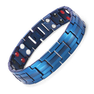 Mens Blue Titanium 4-in-1 Power Magnets Bracelet Double Strength Energy Bangle