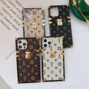 Luxury Retro Leather Metal Square Case Cover For iPhone 13 12 11 Pro Max XS XR 8