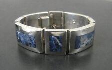Taxco Bracelet Chunky Sodalite Blue Stones Mexico Sterling 925 Silver Link