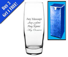 Personalised Engraved Round Bud Vase Birthday Christmas Wedding Gift Bridesmaid