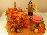Thanksgiving HARVEST PUMPKIN Jar CANDLE Fall SCARECROW Decoration Centerpiece