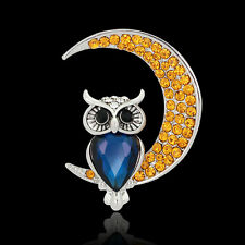 1X Adorable Owl Shaped Wedding Bridal Owl Moon Brooch Crystal Brooch Pins Nice