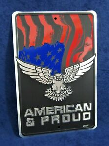 AMERICAN & PROUD -*US MADE* Embossed Sign - Man Cave Garage Bar Pub Wall Décor